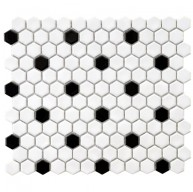 Cityside Glossy White with Black Dot Hexagon 10-1/4 in. x 11-3/4 in. x 5 mm Porcelain Mosaic Tile (8.54 sq. ft. / case)