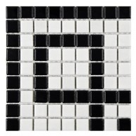 Cityside Matte Pearl and Black Square Corner 8 in. x 8 in. x 5 mm Porcelain Mosaic Tile