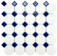 Cityside Matte White with Navy Octagon 11-1/2 in. x 11-1/2 in. x 5 mm Porcelain Mosaic Tile (9.2 sq. ft. / case)