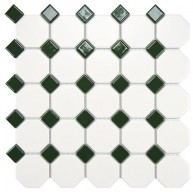 Cityside Matte White with Pine Octagon 11-1/2 in. x 11-1/2 in. x 5mm Porcelain Mosaic Tile (9.2 sq.ft./case)