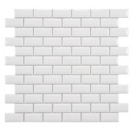 Cityside Glossy Pearl Brick 12 in. x 12 in. x 5 mm Subway Porcelain Mosaic Tile (10 sq. ft. / case)