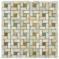 Redwood Matte Multi Basketweave 12 in. x 12 in. x 9 mm Spiral Sunset Slate Mosaic Tile