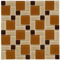 Orange-Peach Glossy Varying 11-3/4 in. x 11-3/4 in. x 5 mm Glass Mosaic Wall Tile