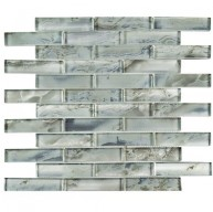 Grey Glossy Brick 12 in. x 13-3/4 in. 8 x mm Glass Mosaic Tile