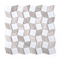 White-Brown Leaf Glass & Stone Mesh Mounted Mosaic Tile