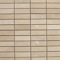 1x3 Crema Marfil Marble Stacked Pattern Polished Mosaic Tile