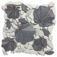 Waterjet Leaf Looking White and Grey Polished Marble Mosaic Tile