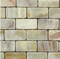 1 in. x 2 in. Multi Light Green Onyx Tumbled / Non Skid / Skid Resistant Brick Pattern Mosaic Tile