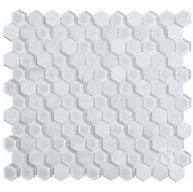 Hexagon Living 1x1 White Glass and Marble Mosaic Tile
