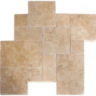Tuscany Chocolde Versailles Pattern Tumbled Travertine Pavers Tile for Driveway, Pool Deck and Patio (Each Pattern Kit = 16 Sqft.)