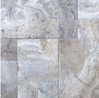 Silver Tumbled Versailles Pattern Travertine Pavers Tile for Driveway and Pool Deck (Each Pattern Kit = 16 Sqft.)