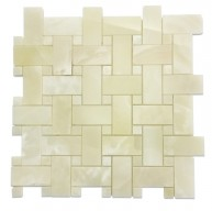 1 in.x 2 in.White Onyx Basketweave Mosaic Tile