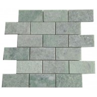 2x4 Ming Green Marble Brick Polished Mosaic Tiles on 12x12 mesh Sheet