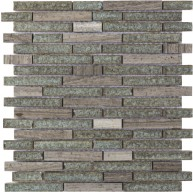 Misty Grey Marble and Grey Crackled Glass Linear Pattern 12x12 Mosaic Tile