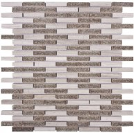 Misty Grey Marble and Grey Crackled Glass 11.75 x11.75 Slim Linear Pattern Mosaic Tile