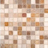 1x1 Mixed Travertine Square Pattern Tumbled Finish Mosaic Tile