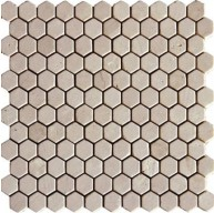 Spanish Crema Marfil 1 inch Hexagon Marble Mosaic Tumbled Finish Tile