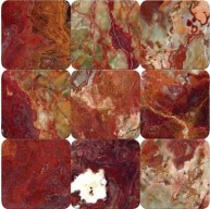 4 x 4 Multi Red Onyx Square Pattern Tumbled Finish Mosaic Tile