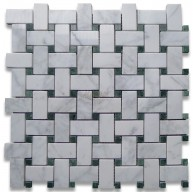 Bianco White Carrara Marble with Ming Green Dot Polished 1x2 Basketweave Tile