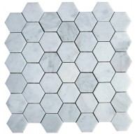 Bianco White Carrara Marble Honed Mesh Mounted Tile in 2x2 Hexagon Tile format