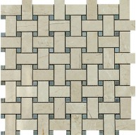 1x2 Spanish Crema Marfil Marble Basketweave Polished Bardiglio Gray Dot Mosaic Tile
