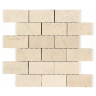 2x4 Spanish Crema Marfil Marble Brick Pattern Polished Mosaic Tile