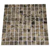 1x1 Emperador Dark Marble Square Pattern Polished Finish Mosaic Tile