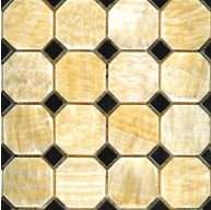 2x2 Honey Onyx Octagon Pattern Polished Mosaic Tile with 5/8 in. Black Dot
