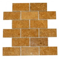 2x4 Inca Gold Marble Brick Pattern Polished Finish Mosaic Tile