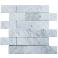 2x4 Italian White Carrara Marble Brick Pattern Honed Mosaic Tile