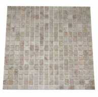 5/8x5/8 Lotus Pink Tea Rose Marble Square Pattern Polished Mosaic Tile