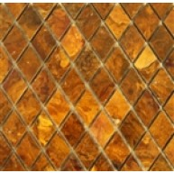 1x1 Multi Brown Gold Onyx Diamond Pattern Polished Finish Mosaic Tile