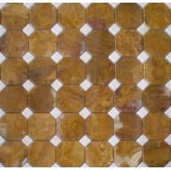 2x2 Multi Brown Onyx Octagon Pattern Polished Mosaic Tile with 5/8 in. White Dot