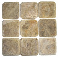 4 x 4 Multi Brown Onyx Square Pattern Tumbled Finish Mosaic Tile