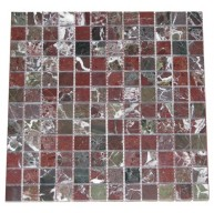 1x1 Rosso Levanto Marble Square Pattern Polished Mosaic Tile