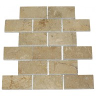 2x4 Sahara Beige Marble Brick Pattern Polished Mosaic Tiles