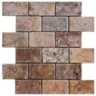 2x4 Scabos Travertine Brick Pattern Tumbled Finish Mosaic Tile
