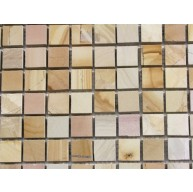 1x1 Teakwood Marble Square Pattern Polished Marble Mosaic Tile