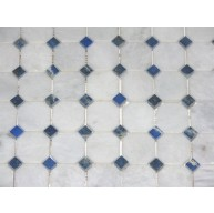 2x2 White Blend Marble Octagon Pattern Polished Mosaic Tile