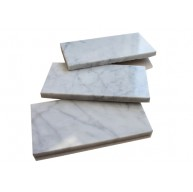 3 in.x 6 in.Italian White Carrara Marble Brick Pattern Honed Mosaic Tile