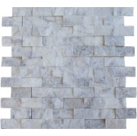 1x2 Italian White Carrara Marble Brick Split Face Mesh Mounted Mosaic Tile