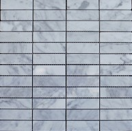 1x3 Italian White Carrara Marble Staggered Pattern Polished Mosaic Tiles