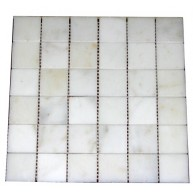 2x2 White Marble Square Pattern Polished Finish Mosaic Tile