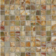 1x1 Multi Green Onyx Square Pattern Polished Finish Mosaic Tile
