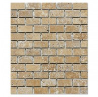 Noce Travertine 1x2 Brick Pattern Tumbled Mesh Mounted Mosaic Tile