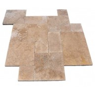 Dark Walnut / Noce Travertine Versailles French Pattern Tumbled Paver Tiles for Driveway, Pool Deck and Patio (Each Pattern Kit = 16 Sqft.)