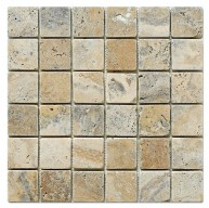 Philadelphia Scabos Travertine 2x2 Square Tumbled Mesh Mounted Mosaic Tile
