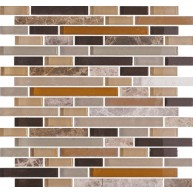 11.75x12 Random Stripe Dark Emperador and Multi Color Painted Glass Mesh-Mounted Mosaic Tile