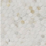 Calacatta Gold Italian Polished Marble Hexagon 1 in. x 1 in. Mosaic Tile