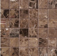 2x2 Emperador Dark Marble Square Pattern Polished Finish Mosaic Tile